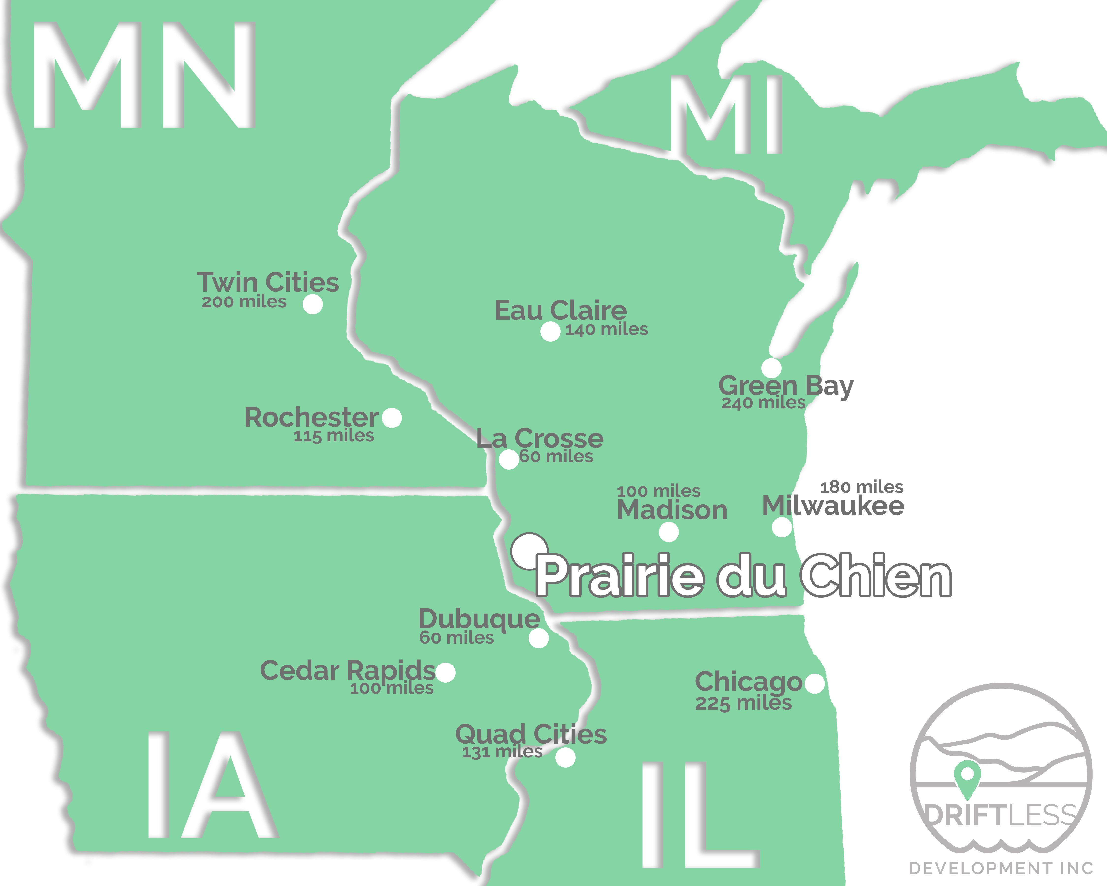 city distance to PDC / driftless region